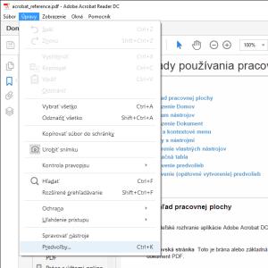 Adobe Acrobat Reader DC - ponuka - upravy - predvolby