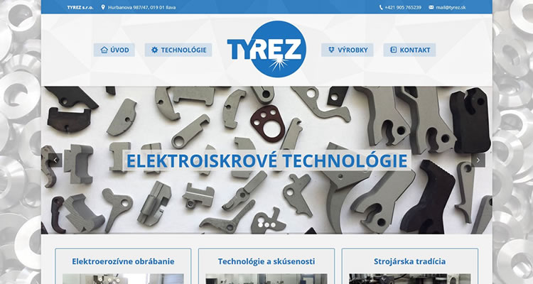 Spustená one-page stránka www.tyrez.sk