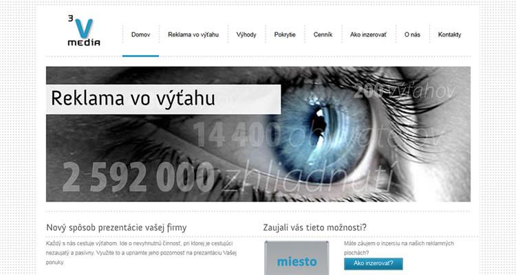 Spustená stránka www.3vmedia.sk