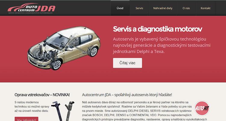 Spustená stránka www.autocentrumjda.sk