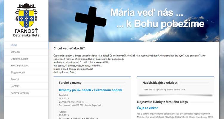 Spustená stránka detvianskahuta.fara.sk