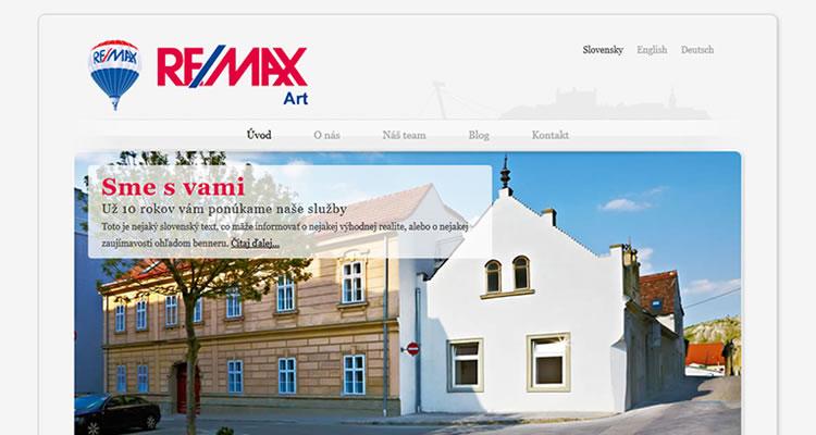 Spustená stránka www.remaxart.sk