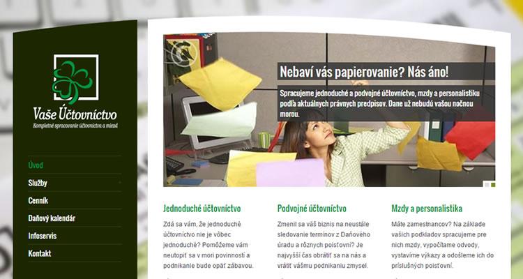 Spustená stránka www.vase-uctovnictvo.sk