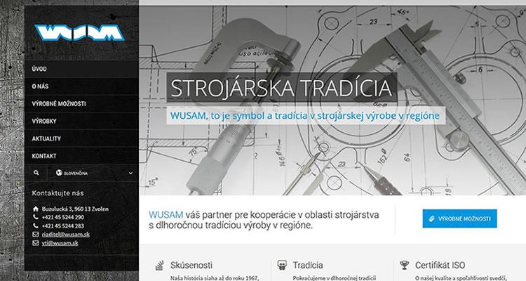 Spustená stránka www.wusam.sk