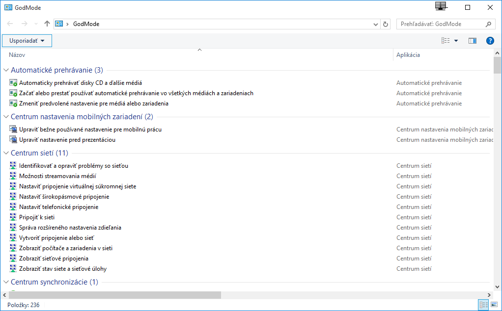 Windows 10 GodMode – nastavenia systému na jednom mieste