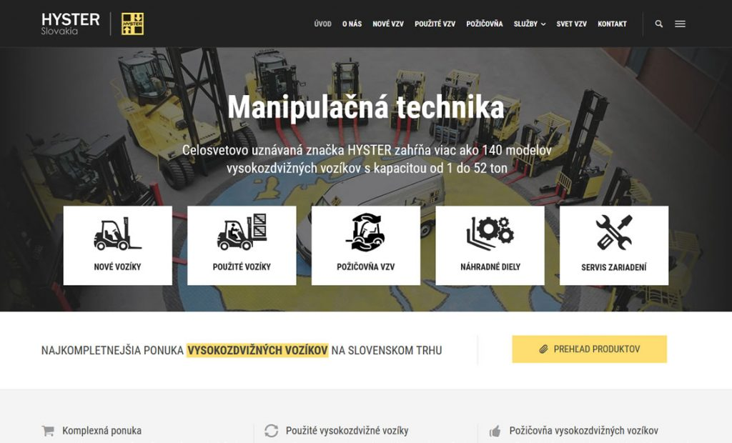 Internetová stránka pre spoločnosť HYSTER Slovakia s.r.o.
