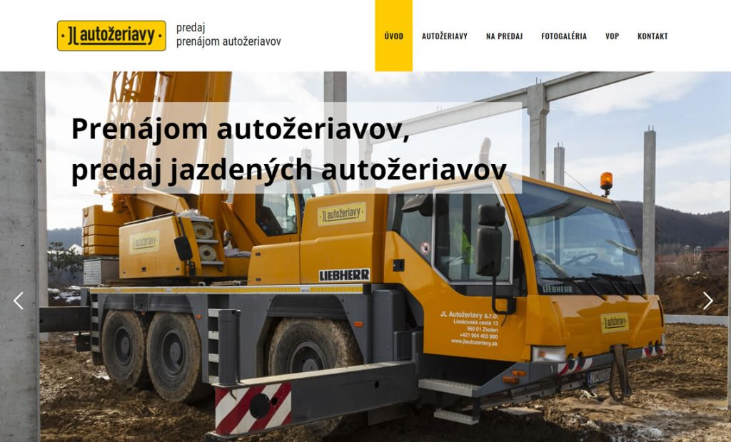 Web stránka jlautozeriavy.sk
