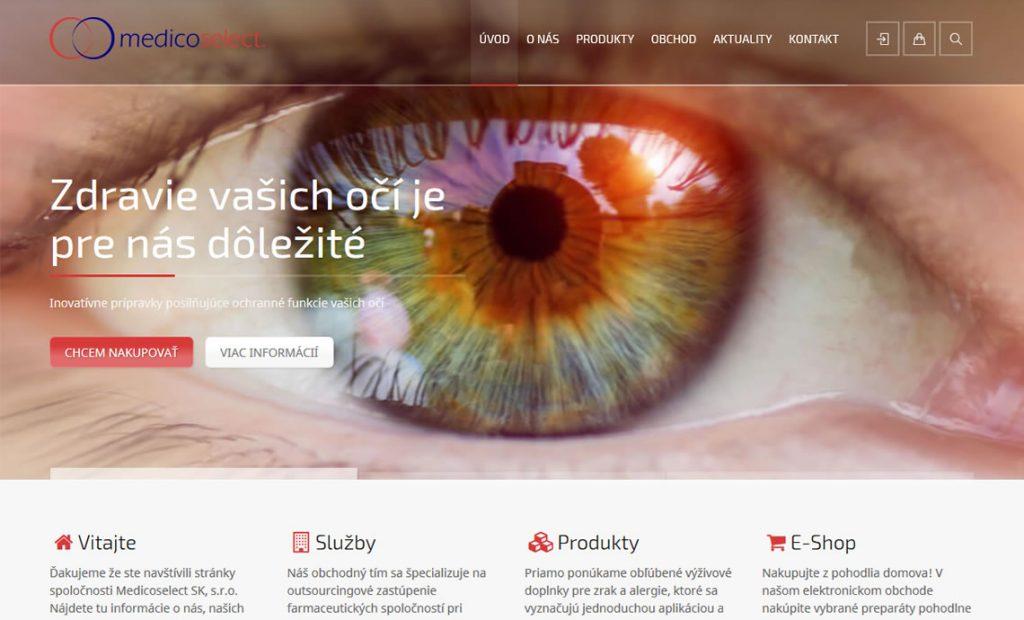 Redizajn stránky www.medicoselect.sk
