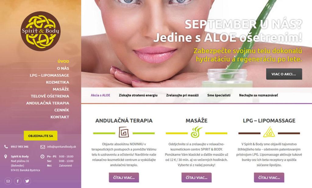 Redizajn stránky pre relaxačno-terapeutické centrum SPIRIT & BODY