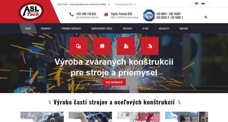 Redizajn web stránky www.asl-tech.sk