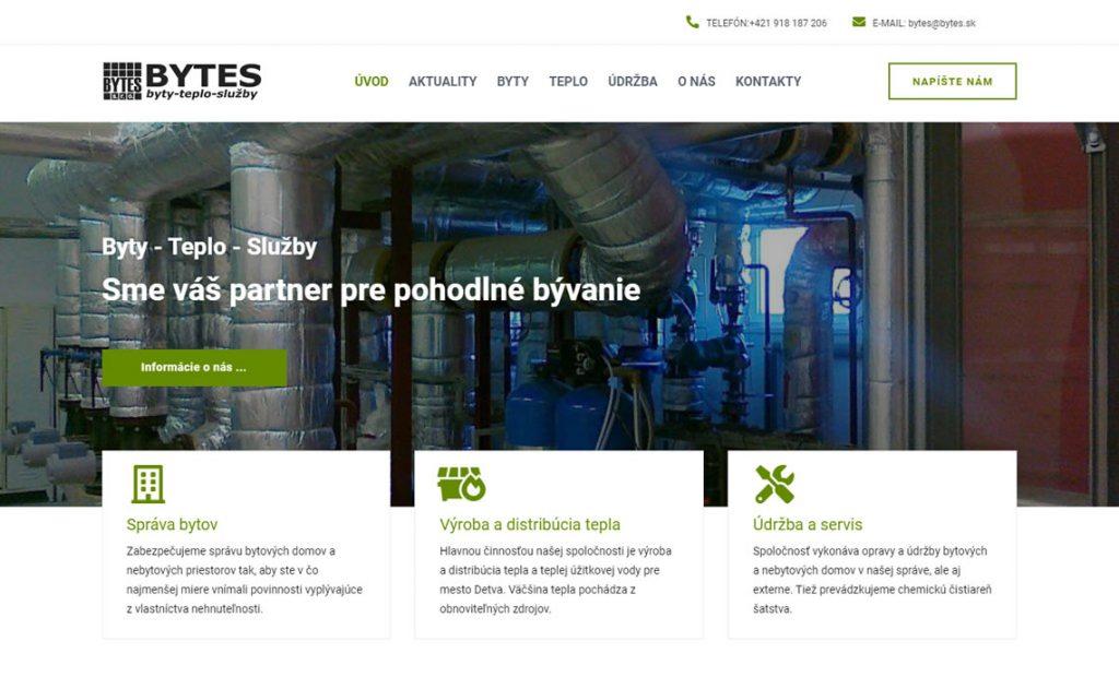 Redizajn web stránky pre spoločnosť BYTES