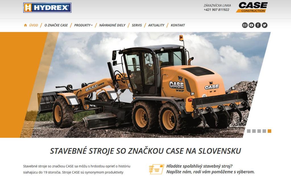 Spustená stránka www.case.hydrex.sk