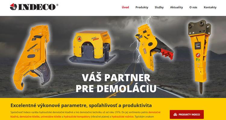 Spustená stránka www.indeco.hydrex.sk
