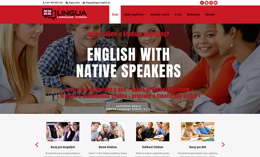Redizajn web stránky pre jazykovú školu Lingua a nové logo