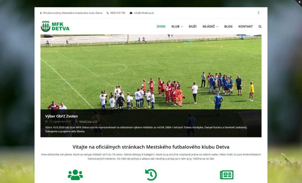 Web stránka pre Mestský futbalový klub Detva