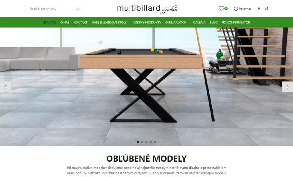 Redizajn www stránky pre výrobcu biliardových stolov