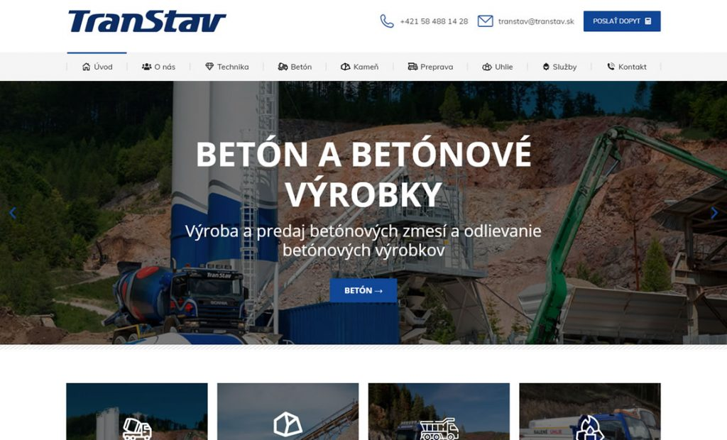 Web stránka pre spoločnosť Transtav.sk