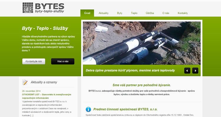Redizajn stránky www.bytes.sk