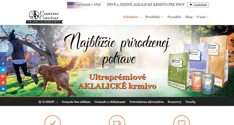 E-shop s krmivom pre psy www.caninecaviar.sk