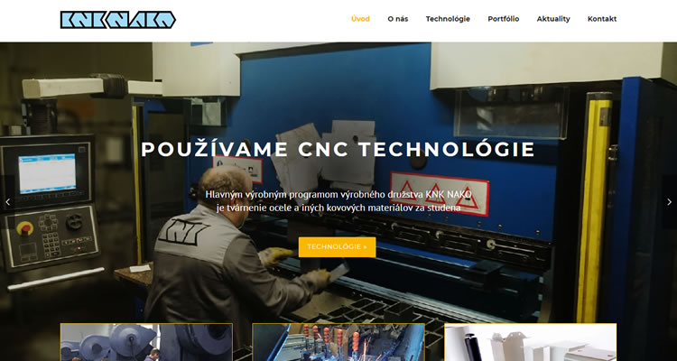 Firemná web stránka pre spoločnosť KNK NAKO