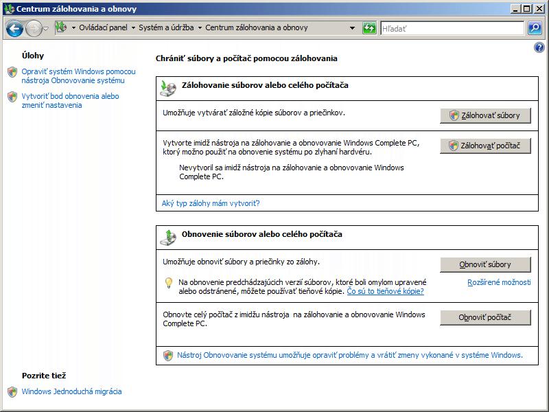 Zálohovanie systému vo Windows