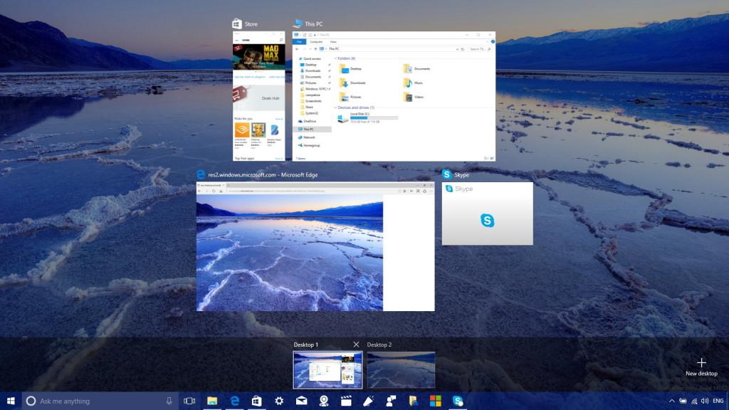 Virtuálne pracovné plochy vo Windows 10